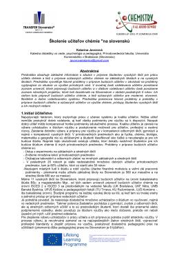 """Školenie učiteľov chémie """"na slovenskú"""
