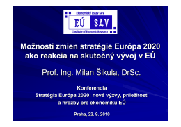 Možnosti zmien stratégie Európa 2020 ako reakcia na skutočný