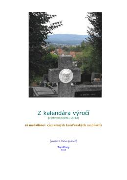 Z kalendára výročí v prvom polroku 2013