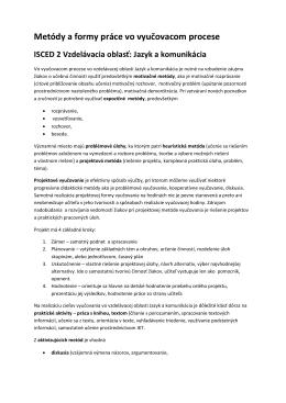 Metódy a formy práce vo vyučovacom procese