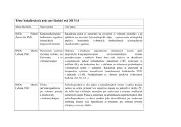 Témy bakalárskych prác pre školský rok 2013/14