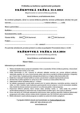 Prihláška na kultúrno-spoločenské podujatie DRŽKOVSKÁ DRŽKA