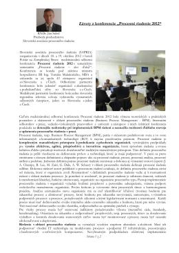 """Závery z konferencie """"Procesné riadenie 2012"""""""