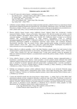 Komisia slovenských známok a celín ZSF Hodnotiaca správa