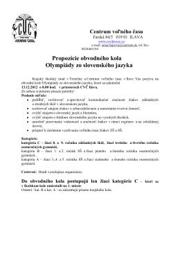 Propozície obvodného kola Olympiády zo slovenského jazyka