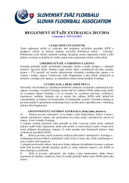 REGLEMENT SÚŤAŽE EXTRALIGA MUŽOV 2013/2014