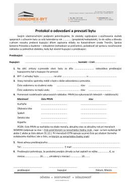 Protokol o odovzdaní a prevzatí bytu ( pdf )