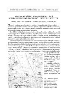 neolitické nálezy a ich petrografická charakteristika