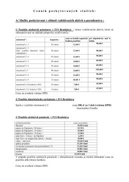 Cenník služieb strediska IVS Bratislava (.pdf)