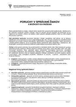PORUCHY V SPRÁVANÍ ŽIAKOV - CPPPaP Košice