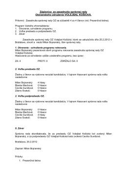 Zápisnica zo zasadnutia správnej rady