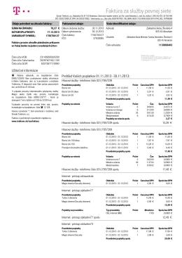 Faktúra za služby pevnej siete - Základná škola Michala Tareka