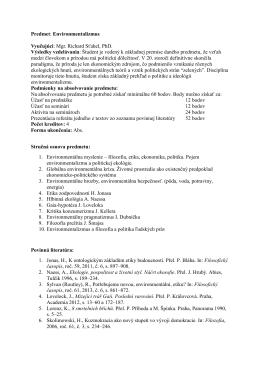 Predmet: Environmentalizmus Vyučujúci: Mgr