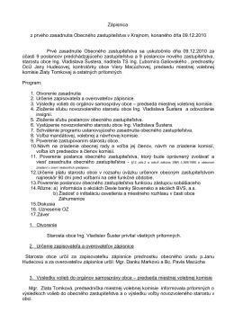 Zápisnica z prvého zasadnutia Obecného zastupiteľstva v