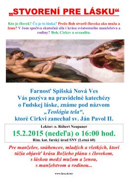 """""""STVORENÍ PRE LÁSKU"""" - Farnosť Spišská Nová Ves"""
