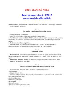 Interná smernica o cestovných náhradách