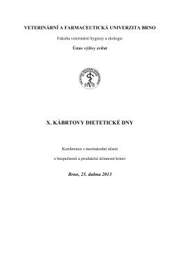 x. kábrtovy dietetické dny - Fakulta veterinární hygieny a ekologie