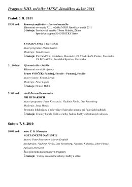 Program MFSF Jánošíkov dukát 2011
