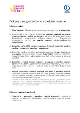 Pokyny pre garantov a volebné komisie