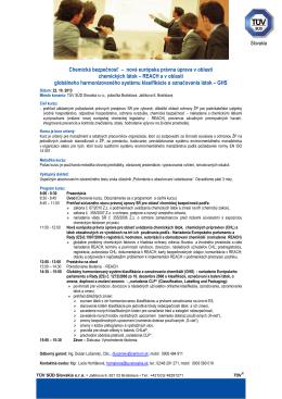 Chemická bezpečnosť – nová európska právna úprava v