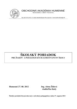 Školský poriadok - Obchodná akadémia, Komenského 1, 066 01