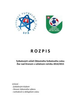 Rozpis súťaží na sezónu 2014/2015