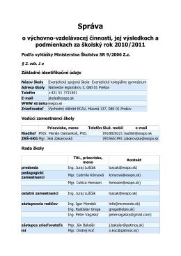 Správa o výchovno - Evanjelická spojená škola, Prešov