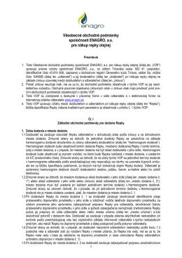 Všeobecné obchodné podmienky spoločnosti ENAGRO, a.s. pre