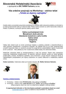 odchov teliat - Slovenská holsteinská asociácia