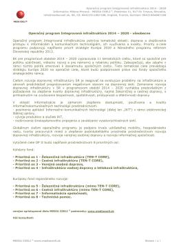 Operačný program Integrovaná infraštruktúra 2014