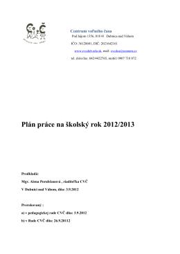 Plán práce na školský rok 2012/2013