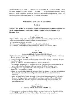 VZN Č. 5/2012 O určení výšky príspevku na