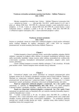 Návrh VZN o úprave volebnej kampane