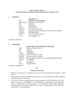 Zmluva 75/2014, STOLAMED s.r.o.