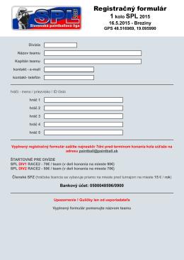Formulár registrácie na 1 kolo SPL 2015