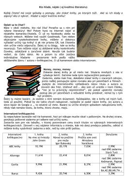 Kto hľadá, nájde ( aj kvalitnú literatúru)