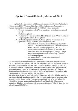 Správa o činnosti Urbárskej obce za rok 2011