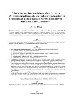 VZN č. 1/2014 O verejných kultúrnych, športových