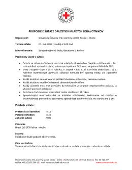 propozíciach súťaže - Slovenský Červený Kríž, Územný spolok