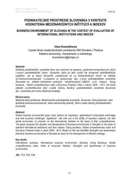 podnikateľské prostredie slovenska v kontexte hodnotenia