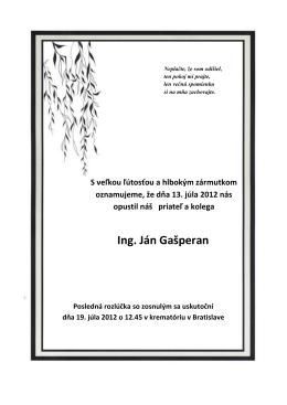 Ing. Ján Gašperan