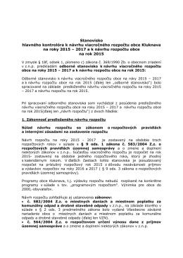 Stanovisko hlavného kontrolóra k návrhu viacročného