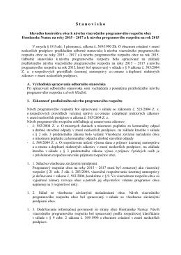 Stanovisko hlavného kontrolóra k návrhu rozpočtu