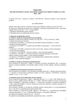 Stanovisko kontrolórky obce k rozpočtu 2015-2017