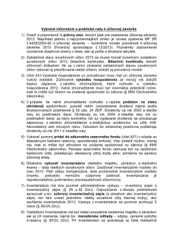 Vybrané informácie a praktické rady k účtovnej závierke 1) Overiť a