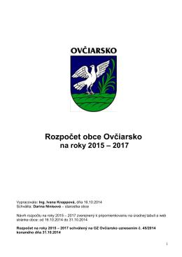 Rozpočet obce Ovčiarsko na roky 2015