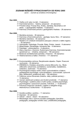 zoznam rešerší vypracovaných od roku 2005