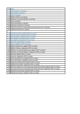 Kód Popis 27 Stavební práce na výstupu 57 Šrot odpady na