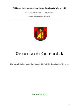 organizačný poriadok - Základná škola s materskou školou