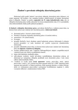 Žiadosť o povolenie obhajoby dizertačnej práce - FBP